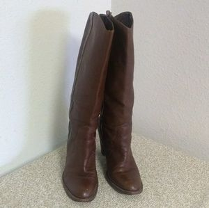Kors Michael Kors Brown Leather Distressed Boots